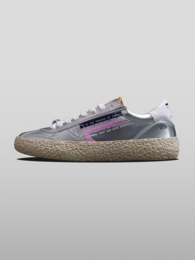 Silver Vegan Ecofriendly Sneakers Cruelty-free shoes made with recycled and organic materials.Made in Italy handcrafted by expert artisans.