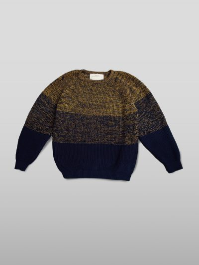 Organic cotton yellow blue jumper - Handmade jumpers and socks made by 100% organic cotton from the Puraai knitwear deadstock fabric factory