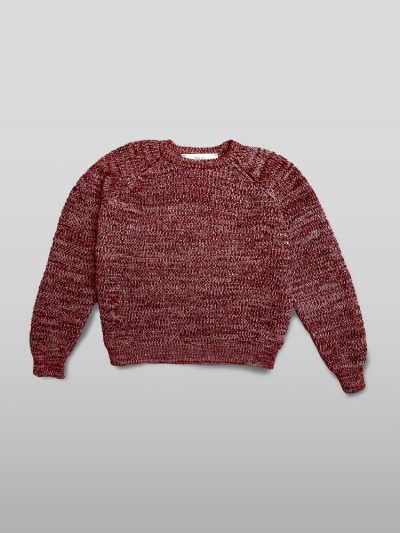 Organic cotton red jumper - Handmade jumpers and socks made by 100% organic cotton from the Puraai knitwear deadstock fabric factory