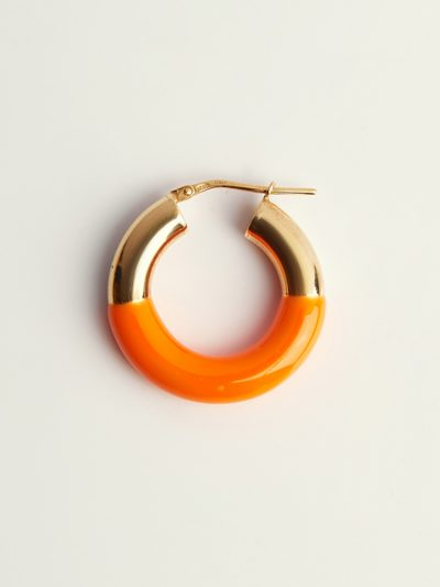 Gold handcolored orange earrings - Puraai 925 silver double dipped in 18K gold plating rings 100% made inthe golden district of Italy.