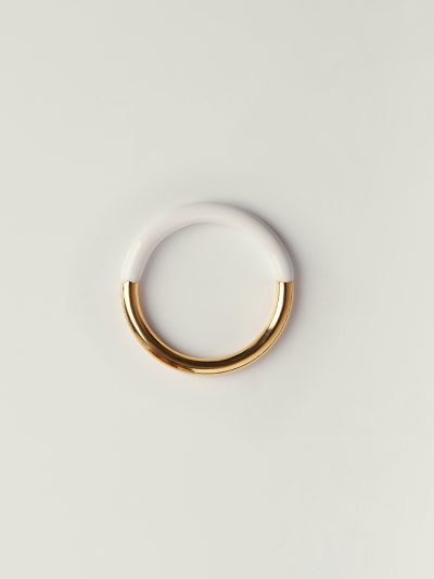Gold handcolored white ring - Puraai 925 silver double dipped in 18K gold plating rings 100% made inthe golden district of Italy.