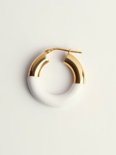 Gold handcolored white earrings - Puraai 925 silver double dipped in 18K gold plating rings 100% made inthe golden district of Italy.