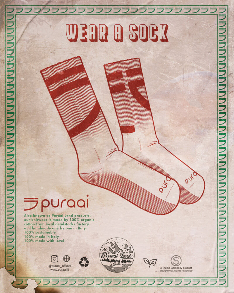 Organic cotton socks Handmade jumpers and socks made by 100% organic cotton from the Puraai knitwear deadstock fabric factory.