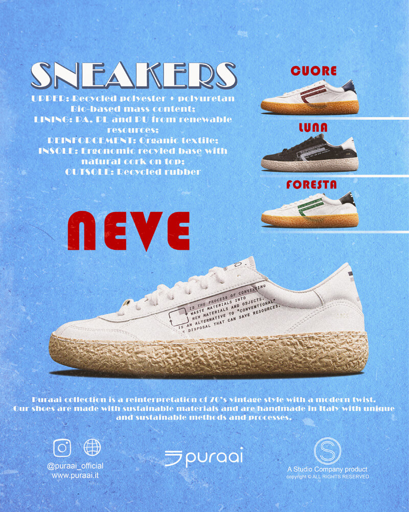 Vegan Ecofriendly Sneakers Cruelty-free shoes made with recycled and organic materials. Made in Italy handcrafted by expert artisans.